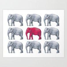 Elephants Red Art Print