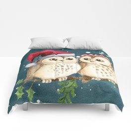 Cute Christmas Winter Owl Couple Painting Comforters