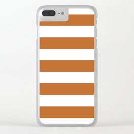 Ruddy brown - solid color - white stripes pattern Clear iPhone Case