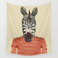 charlie Wall Tapestries featuring charlie zebra by bri.buckley