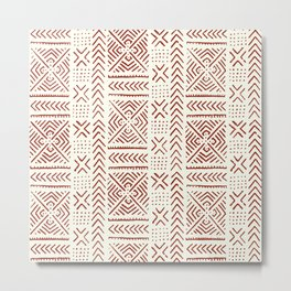 Line Mud Cloth // Ivory & Burgundy Metal Print