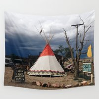 western Wall Tapestries featuring western teepee by Katie Corley