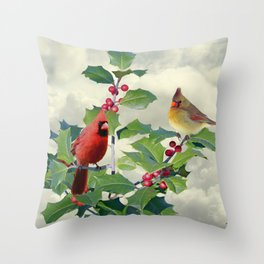 Cardinals on Tree Top Throw Pillow