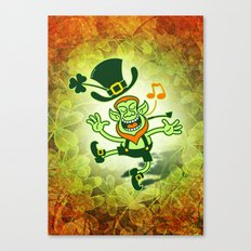 Irish Leprechaun Dancing and Singing Canvas Print