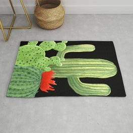 Perfect Cactus Bunch on Black Rug