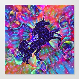 UNICORN OF THE UNIVERSE multicolored Canvas Print
