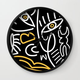 Line abstract bold yellow Wall Clock