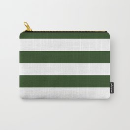 Large Dark Forest Green and White Cabana Tent Stripes Carry-All Pouch