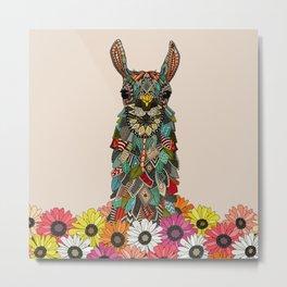 llama daisy love almond Metal Print
