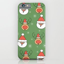 Cute cartoon christmas pattern with santa claus and reindeer iPhone Case