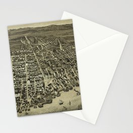 Vintage Pictorial Map of Newburyport MA (1880) Stationery Cards