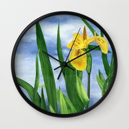 Yellow Iris by Teresa Thompson Wall Clock