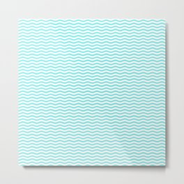 Aqua Belle and White Chevron Wave Wavy ZigZag Stripes Metal Print