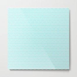 Aqua Belle and White Chevron Wave Wavy ZigZag Stripes Metal Print