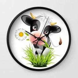 Cute Holstein cow in grass Wall Clock
