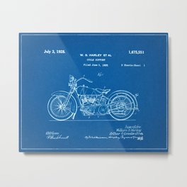 1928 Vintage Motor Cycle Patent - Blueprint Style Metal Print