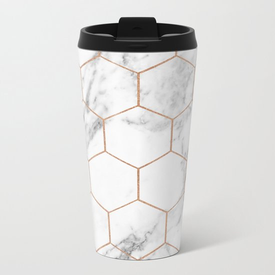 Rose gold marble hexagons honeycomb pattern Metal Travel Mug