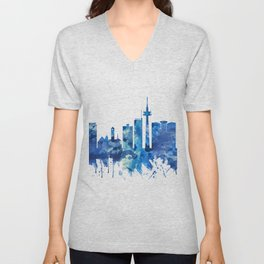 Essen Germany Skyline Blue Unisex V-Neck