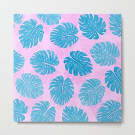 Pink Blue Hand Painted Swiss Cheese Plant Leaves Metal Print