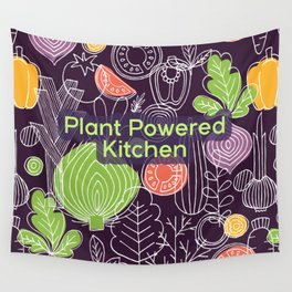 Plant Powered Kitchen Veggie Pattern Background Wall Tapestry