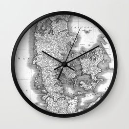 Vintage Map of Denmark (1801) BW Wall Clock
