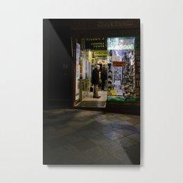 Streets of Madrid - Late Night Shopping Metal Print
