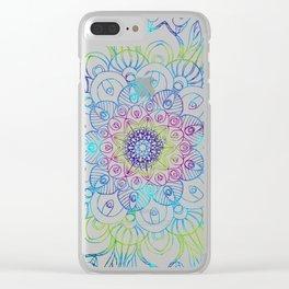 Boho Peacock Mandala Clear iPhone Case