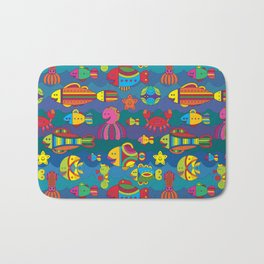 Stylize fantasy fishes under water Bath Mat