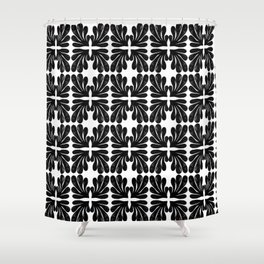 Grace - black and white abstract painting india ink brushstroke watercolor minimal modern urban  Shower Curtain