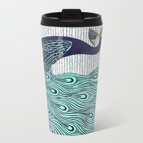 'A very, very peacock' Metal Travel Mug