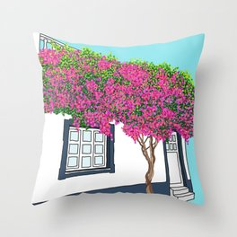 Little house in Portugal Throw Pillow