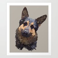 german shepherd Art Prints featuring German Shepherd by ArtLovePassion