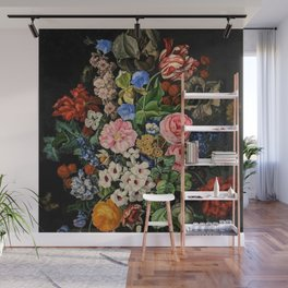 Parrot Tulips, Roses, Dahlias, Zinnia & Fig Bouquet  (Flowers of the Imagination) by Rachel Ruysch Wall Mural