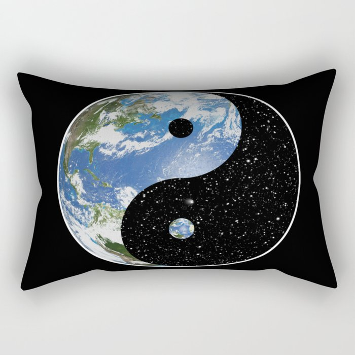 Earth / Space Yin Yang Rectangular Pillow