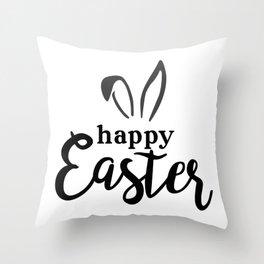 Happy Easter Cute Bunny Ears Throw Pillow