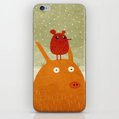 A pig and a rat in the snow iPhone & iPod Skin