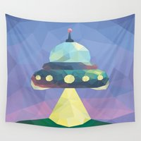 spaceship Wall Tapestries featuring Sunset Spaceship. by Dani Does Art