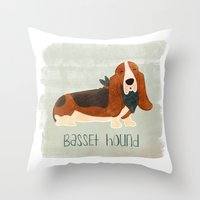 the hound Throw Pillows featuring Basset Hound by 52 Dogs