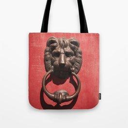Red Door with Lion head  Tote Bag