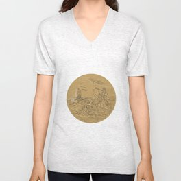 Siren On Island Waving Calling Tall Ship Circle Drawing Unisex V-Neck