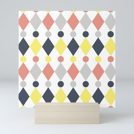 Rhombus and circle pattern Mini Art Print