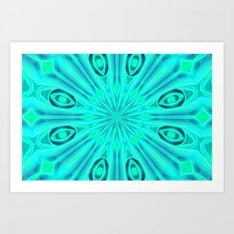 Peace Rose Double Kaleidoscope Neon Teal Art Print