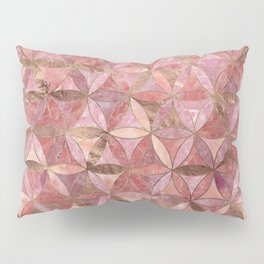 Flower of life pattern - Rose Quartz and gold Pillow Sham