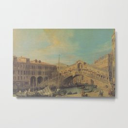 Grand Canal Rialto Bridge - Canaletto (Distressed Plaster Look) Metal Print