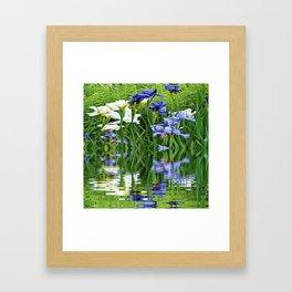 BLUE & WHITE IRIS WATER REFLECTION ART Framed Art Print