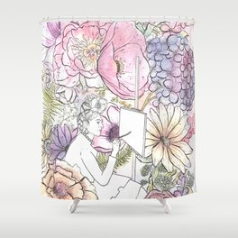 Open: Frida at her Easel (Color) Shower Curtain