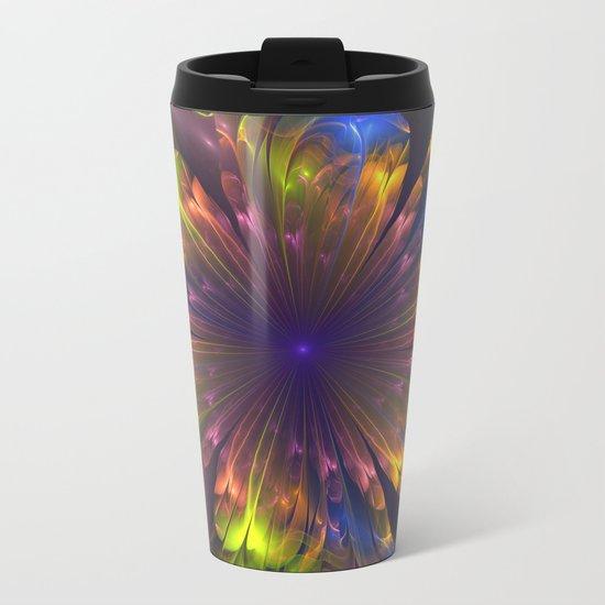 Dream flower, fantasy fractal abstract Metal Travel Mug
