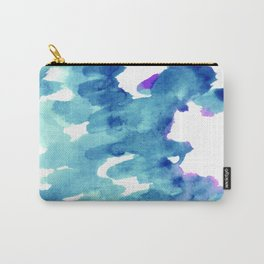 Blue, turquoise water cloud. Colorful watercolor painting Carry-All Pouch