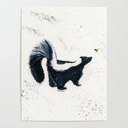 Curious Skunk - animal watercolor painting Poster