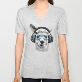 Kangaroo, funny kangaroo, cute animal, sunglasses, headphones Unisex V-Neck